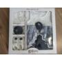 Kép 8/8 - Hófehér-kék kislány alkalmi szett hajpánttal, kiscipővel, bodyval (56-68)