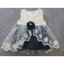 Kép 2/8 - Hófehér-kék kislány alkalmi szett hajpánttal, kiscipővel, bodyval (56-68)