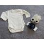 Kép 4/8 - Hófehér-kék kislány alkalmi szett hajpánttal, kiscipővel, bodyval (56-68)