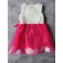 Kép 2/2 - Fehér-ciklámen kislány ruha (92)
