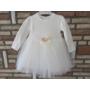 Kép 3/6 - Törtfehér kislány ruha boleróval, barack kitűzővel (74)
