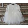 Kép 4/6 - Törtfehér kislány ruha boleróval, barack kitűzővel (74)