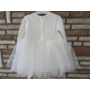 Kép 4/6 - Törtfehér kislány ruha boleróval, barack kitűzővel