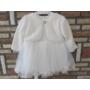 Kép 1/6 - Gyönyörű törtfehér kislány keresztelő ruha boleróval (74)