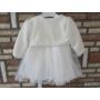 Kép 2/6 - Gyönyörű törtfehér kislány keresztelő ruha boleróval (74)