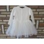 Kép 4/6 - Törtfehér kislány ruha boleróval, bézs-barna dísszel (74)