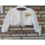 Kép 5/6 - Törtfehér kislány ruha boleróval, bézs-barna dísszel (74)