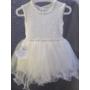 Kép 1/6 - Hófehér, ujjatlan kislány ruha kék kötött boleróval (98)