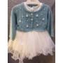 Kép 3/6 - Hófehér, ujjatlan kislány ruha kék kötött boleróval (104)