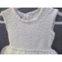 Kép 4/6 - Hófehér, ujjatlan kislány ruha kék kötött boleróval (104)