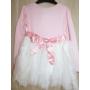 Kép 4/4 - Rózsaszín-fehér kislány ruha (92-98)
