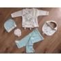 Kép 1/8 - 5 részes újszülött kislány babaruha szett - kék, nyuszis (56/62)