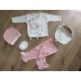 Kép 1/8 - 5 részes újszülött kislány babaruha szett - rózsaszín, nyuszis (56/62)