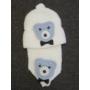 Kép 2/3 - Baba, kisfiú kötött sapka-sál szett - macis, fehér-kék (68/74)