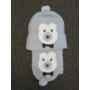Kép 2/3 - Baba, kisfiú kötött sapka-sál szett - macis, kék-fehér (68/74)