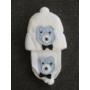 Kép 2/3 - Baba, kisfiú kötött sapka-sál szett - macis, vaj-kék (68/74)