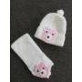 Kép 1/3 - Baba, kislány kötött sapka-sál szett - macis, fehér-rózsaszín (68/74)