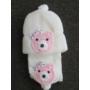 Kép 2/3 - Baba, kislány kötött sapka-sál szett - macis, fehér-rózsaszín (68/74)