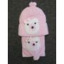 Kép 2/3 - Baba, kislány kötött sapka-sál szett - macis, rózsaszín-fehér (68/74)