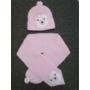 Kép 3/3 - Baba, kislány kötött sapka-sál szett - macis, rózsaszín-fehér (68/74)