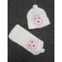 Kép 1/3 - Baba, kislány kötött sapka-sál szett - macis, vaj-rózsaszín (68/74)