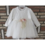 Kép 2/7 - Törtfehér kislány keresztelő/alkalmi ruha csipke boleróval, kitűzővel