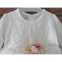 Kép 3/7 - Törtfehér kislány keresztelő/alkalmi ruha csipke boleróval, kitűzővel