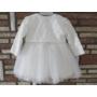 Kép 5/7 - Törtfehér kislány keresztelő/alkalmi ruha csipke boleróval, kitűzővel