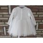 Kép 6/7 - Törtfehér kislány keresztelő/alkalmi ruha csipke boleróval, kitűzővel