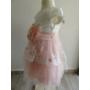 Kép 3/7 - Gyönyörű hófehér-barack színű tüll alkalmi kislány ruha