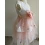 Kép 4/7 - Gyönyörű hófehér-barack színű tüll alkalmi kislány ruha