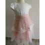 Kép 2/7 - Gyönyörű hófehér-barack színű tüll alkalmi kislány ruha