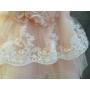 Kép 6/7 - Gyönyörű hófehér-barack színű tüll alkalmi kislány ruha