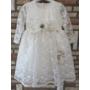 Kép 5/7 - Törtfehér hímzett csipkés hosszú ujjú kislány ruha