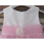 Kép 2/4 - Fehér-rózsaszín keresztelő/alkalmi kislány tüll ruha