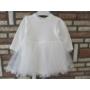 Kép 3/8 - Törtfehér keresztelő/alkalmi kislány ruha púder színű boleróval (74)