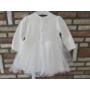 Kép 4/8 - Törtfehér keresztelő/alkalmi kislány ruha púder színű boleróval (74)