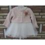 Kép 1/8 - Törtfehér keresztelő/alkalmi kislány ruha púder színű boleróval (74)