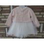 Kép 7/8 - Törtfehér keresztelő/alkalmi kislány ruha púder színű boleróval (74)