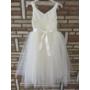 Kép 9/11 - Gyönyörű törtfehér kislány keresztelő/elsőáldozó ruha