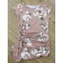 Kép 2/4 - Elegáns, virágmintás pasztell mályva kismama ruha